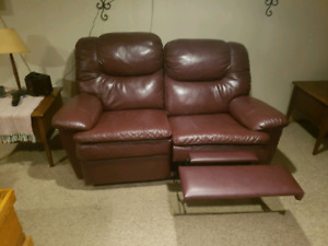 Leather Sofa Bed Couch and Reclining Love Seat