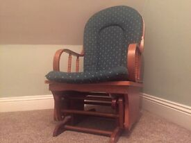 Wooden Rocking Chair with Foot Stool