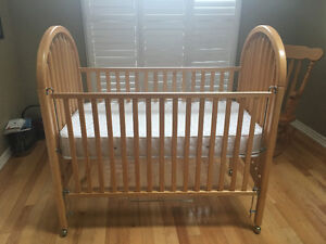 BABY CRIB, SOLID NATURAL MAPLE, STURDY, LIKE NEW!
