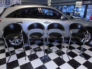 4 Black Leather Bar Stools,