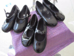 Black Patent Leather Tap Shoes - Sizes 9.5, 8.5