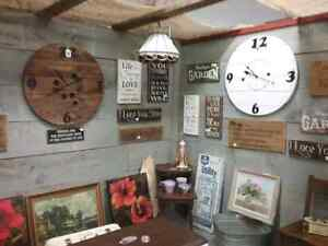 Wood signs, spool clocks, carvings, cutting boards & more