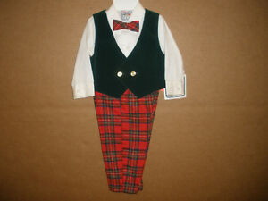 NEW!!! Boys Traditional Christmas Outfit with Bow Tie  Size 18 m
