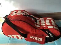 A quality pro tennis racket bag with multiple pockets, immaculate, bargain at only £45