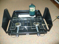 Two propane burner hot plate for backyard or camping. ---NEW---