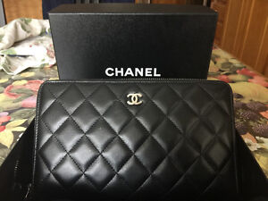 Chanel Authentic Black Calf Skin Wallet