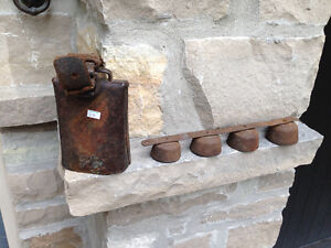 ANTIQUE COW BELL(SOLD)  & 4 STRING BELLS - PARKER PICKERS -