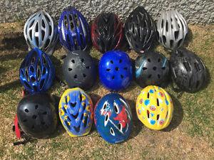 Variety of bike helmets