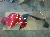 2006 yamaha vector rx-1 chassis windshields 1 red 1 black, clear