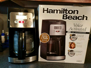 Hamilton Beach Voice Activated 12 cup coffee maker.