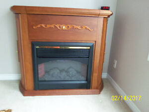 Beautiful electric fireplace w/built in shelves