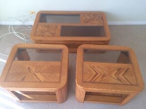 Wood coffee table& end tables