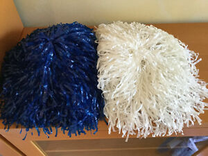 Cheerleading Pom Poms - Blue & White