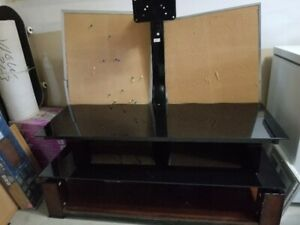 TV Stand: Glass, Steel, & Solid Wood