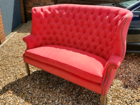 French Style Button Back 3 Seater Coral Colour Sofa, New