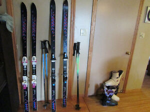 Skis boots and bindings