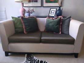 One of a kind bespoke neutral and olive green sofa