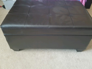 Dark Brown Faux Leather Ottoman with Storage