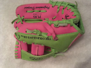 Baseball glove.  Little girl