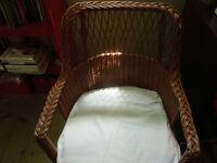 causeuse et fauteuil en rotin vintage