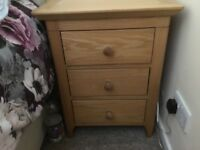 Solid wood light oak three drawer bedside chest