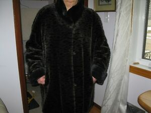 Black brown faux fur coat