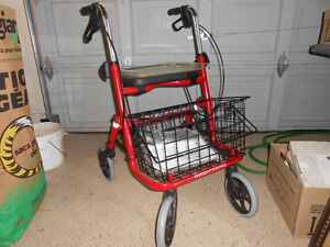 Walker with removable basket and tray