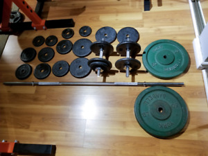 Weights plus Barbell bar and Dumbell bars