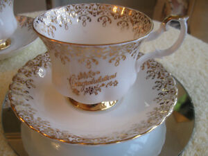 VINTAGE BONE CHINA ROYAL ALBERT CONGRATULATIONS CUP / SAUCER