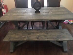 Rustic Style Dining Room Table and Bench - NEW