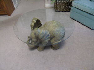 Elephant  Side/ Occasional Table with Glass Top