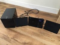 TEAC hi fi system with flat speakers & subwoofer