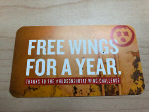 Gift card - free wings for a year at any Hudson's!