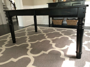 Black Farmhouse Style Dining Table with Leaf