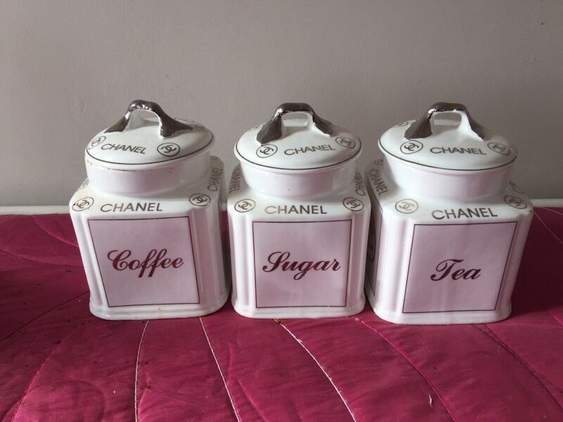 Silver Tea Coffee Sugar Canisters >> Chanel fine bone china tea set caddy set white silver | in Ashington, Northumberland | Gumtree