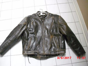 Leather jacket, wind vents , XL, distressed brown leather