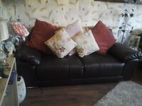 Brown Leather 3 and 2 seater sofa,s