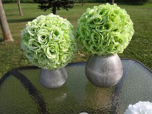 2 Light Green Pomanders and 2 Silver STRUCTUBE Vases Cambridge Kitchener Area image 3