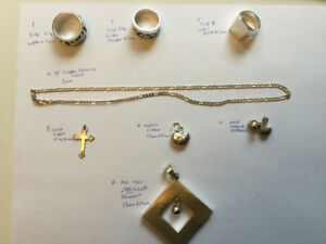 Mens and ladies silver jewelry, rings, chains, charms etc.