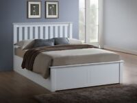 🔴🔵⚫ SALE | 10% Off Everything.🔴🔵⚫NEW OAK OR WHITE CHUNKY WOODEN OTTOMAN STORAGE BED 4FT6 5FT