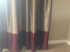 Gorgeous Raw Silk Drapery Panels with Rod and Finials