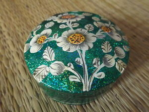 Hand-painted-kashmir-papier-mache-round-sea-green-glitter-floral-trinket-box