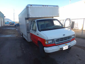 1998 FORD E350 BOX TRUCK WITH SHELVING - PERFECT FOR CONTRACTOR!