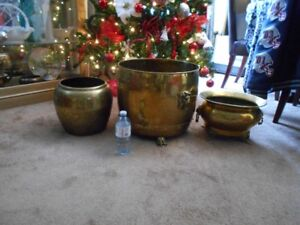 3 VINTAGE BRASS PLANTER VERY LARGE NEW PRICES
