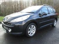 08/08 PEUGEOT207 SPORT 1.6 HDI SW IN BLACK WITH ONLY 57,000 MILES
