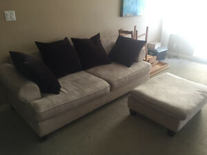 Moving Sale - Couch with Ottoman and Cushions