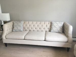 90% New Luxury Sofa. Two High Quality chairs. Leather Chaise