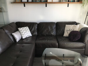 Beautiful genuine leather dark brown sectional with chaise