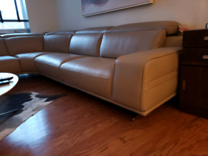 All leather modern sectional