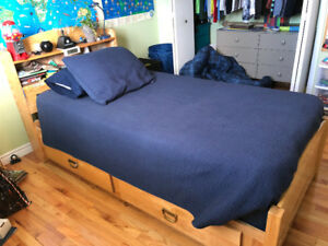Solid wood captain's bed and mattress and box spring